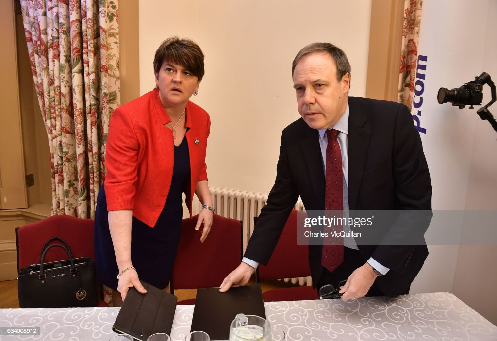 DUP leader and former Northern Ireland First Minister Arlene Foster (L) and deputy leader Nigel Dodds (R) at the Democratic Unionist Party election launch at Brownlow House on February 6, 2017 in Lurgan, Northern Ireland. Northern Ireland voters will go to the polls on March 2nd following the collapse of the Assembly government at Stormont. This snap election was triggered when the then Deputy First Minister Martin McGuinness resigned his position following the Renewable Heat Incentive scheme crisis which could cost up to 490 million pounds to the Northern Ireland tax payer.