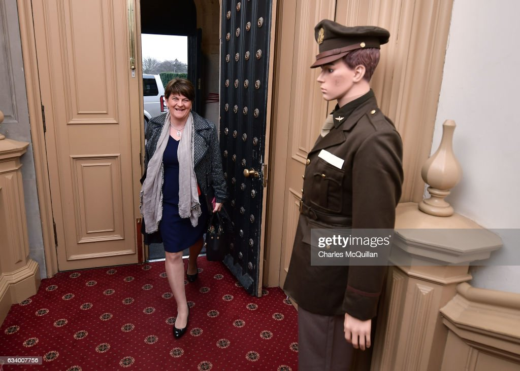 DUP leader and former Northern Ireland First Minister Arlene Foster smiles as she arrives for the Democratic Unionist Party election launch at Brownlow House on February 6, 2017 in Lurgan, Northern Ireland. Northern Ireland voters will go to the polls on March 2nd following the collapse of the Assembly government at Stormont. This snap election was triggered when the then Deputy First Minister Martin McGuinness resigned his position following the Renewable Heat Incentive scheme crisis which could cost up to 490 million pounds to the Northern Ireland tax payer.