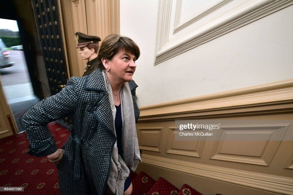 DUP leader and former Northern Ireland First Minister Arlene Foster arrives for the Democratic Unionist Party election launch at Brownlow House on February 6, 2017 in Lurgan, Northern Ireland. Northern Ireland voters will go to the polls on March 2nd following the collapse of the Assembly government at Stormont. This snap election was triggered when the then Deputy First Minister Martin McGuinness resigned his position following the Renewable Heat Incentive scheme crisis which could cost up to 490 million pounds to the Northern Ireland tax payer.