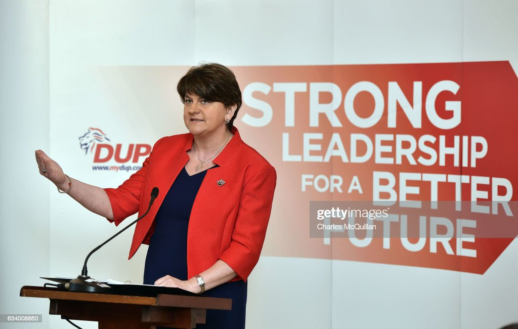 DUP leader and former Northern Ireland First Minister Arlene Foster pictured making her keynote speech at the Democratic Unionist Party election launch at Brownlow House on February 6, 2017 in Lurgan, Northern Ireland. Northern Ireland voters will go to the polls on March 2nd following the collapse of the Assembly government at Stormont. This snap election was triggered when the then Deputy First Minister Martin McGuinness resigned his position following the Renewable Heat Incentive scheme crisis which could cost up to 490 million pounds to the Northern Ireland tax payer.