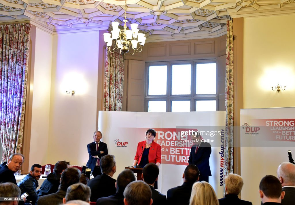 DUP leader and former Northern Ireland First Minister Arlene Foster (C) pictured making her keynote speech at the Democratic Unionist Party election launch at Brownlow House on February 6, 2017 in Lurgan, Northern Ireland. Northern Ireland voters will go to the polls on March 2nd following the collapse of the Assembly government at Stormont. This snap election was triggered when the then Deputy First Minister Martin McGuinness resigned his position following the Renewable Heat Incentive scheme crisis which could cost up to 490 million pounds to the Northern Ireland tax payer.