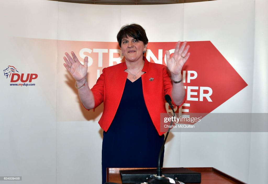 DUP leader and former Northern Ireland First Minister Arlene Foster acknowledges the applause from party members after making her keynote speech at the Democratic Unionist Party election launch at Brownlow House on February 6, 2017 in Lurgan, Northern Ireland. Northern Ireland voters will go to the polls on March 2nd following the collapse of the Assembly government at Stormont. This snap election was triggered when the then Deputy First Minister Martin McGuinness resigned his position following the Renewable Heat Incentive scheme crisis which could cost up to 490 million pounds to the Northern Ireland tax payer.