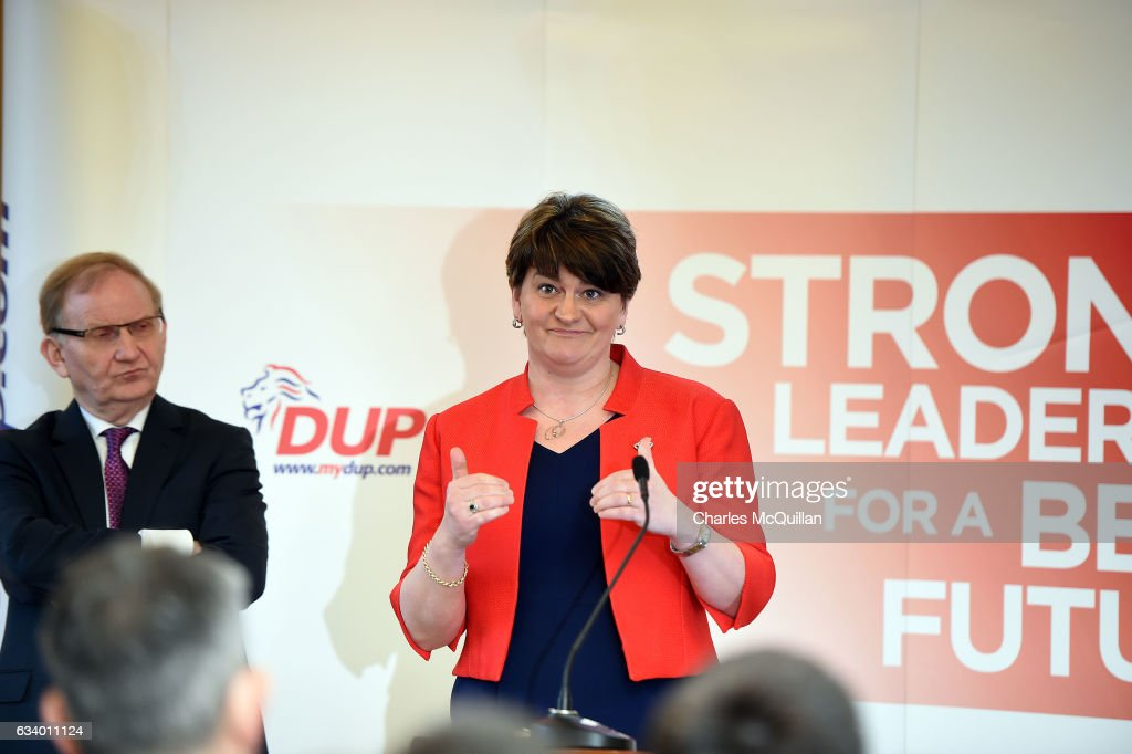 DUP leader and former Northern Ireland First Minister Arlene Foster addresses the media at the Democratic Unionist Party election launch at Brownlow House on February 6, 2017 in Lurgan, Northern Ireland. Northern Ireland voters will go to the polls on March 2nd following the collapse of the Assembly government at Stormont. This snap election was triggered when the then Deputy First Minister Martin McGuinness resigned his position following the Renewable Heat Incentive scheme crisis which could cost up to 490 million pounds to the Northern Ireland tax payer.