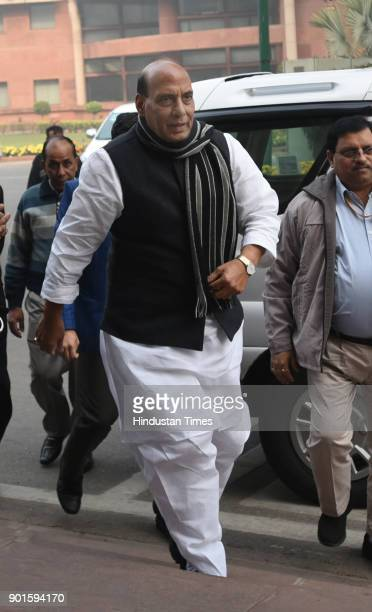 BJP leader and home minister Rajnath Singh during the last day of the parliament winter session at Parliament House on January 5 2018 in New Delhi...