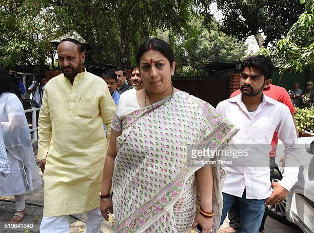 BJP leader and HRD Minister Smriti Irani arrives to pay her respect to Kamla Advani wife of BJP leader LK Advani at his residence at Prithvi Raj Road...