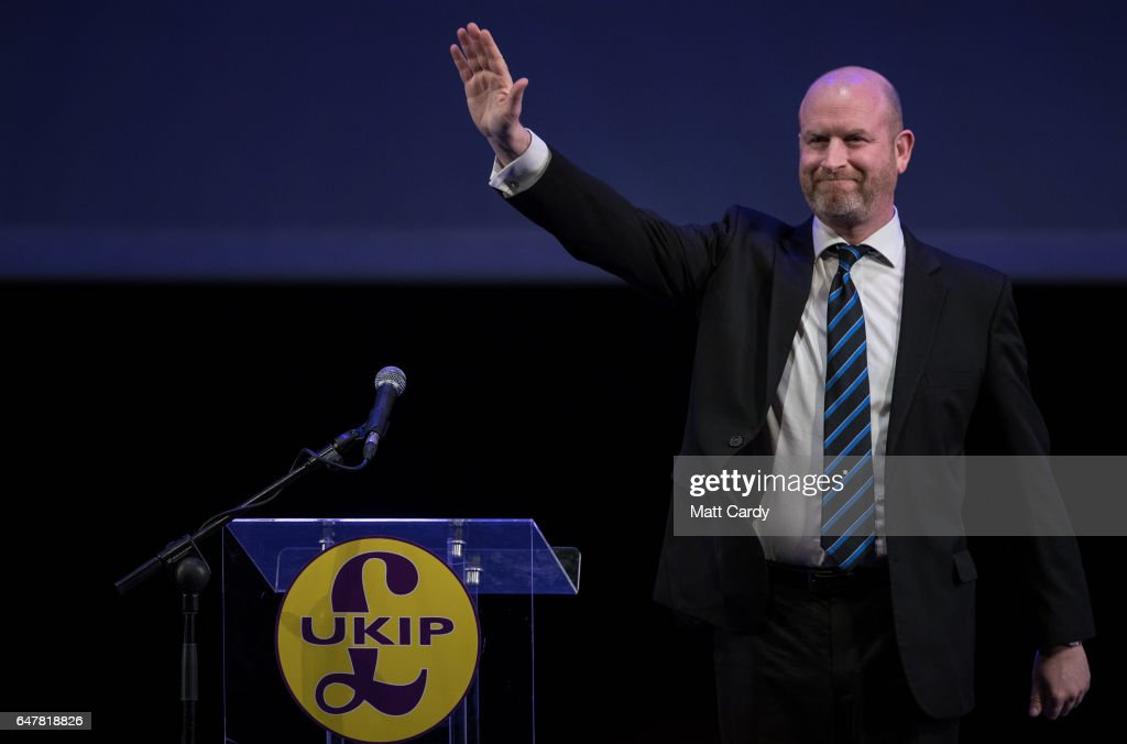 UKIP leader and MEP Paul Nuttall speaks at the UKIP South West regional conference at the Weymouth Pavilion on March 4, 2017 in Weymouth, England. It is the first public appearance of the headline speaker party leader Paul Nuttall since losing a by-election in Stoke-on-Trent last week.