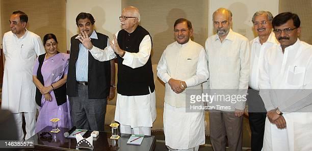 BJP leader and NDA Chairman L K Advani Janata Dal leader Sharad Yadav Janata Party leader Subramaniyam Swami BJP's Sushma Swaraj Nitin Gankari and...