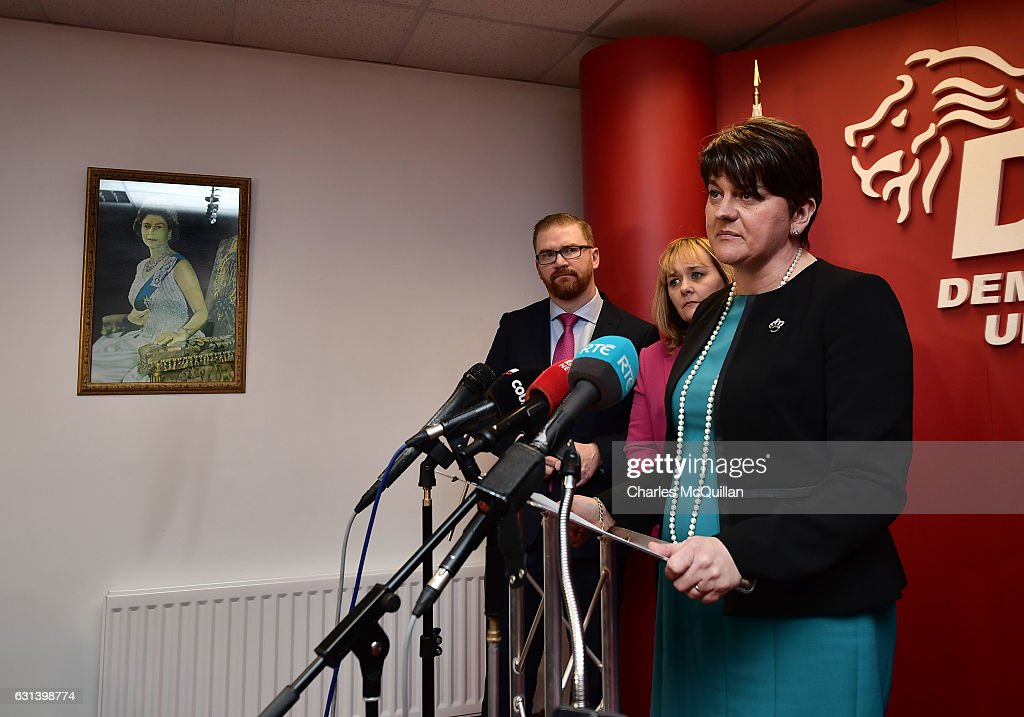 DUP leader and Northern Ireland First Minister Arlene Foster (R) holds a press conference at the Democratic Unionist Party offices on January 10, 2017 in Belfast, Northern Ireland. Northern Ireland politics have been plunged into crisis following the RHI Cash for Ash controversy, a renewable heat scheme introduced by the then DETI minister Arlene Foster which could see the Northern Ireland taxpayer facing a bill of over £400 million pounds due to a flaw in the scheme. Yesterday saw the resignation of Deputy First Minister Martin McGuinness which may now see a snap election.