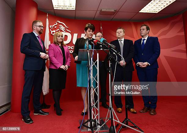 Leader and Northern Ireland First Minister Arlene Foster holds a press conference at the Democratic Unionist Party offices on January 10, 2017 in...
