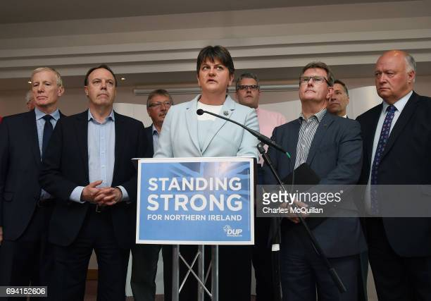 DUP leader and Northern Ireland former First Minister Arlene Foster holds a brief press conference with the DUP's newly elected Westminster...