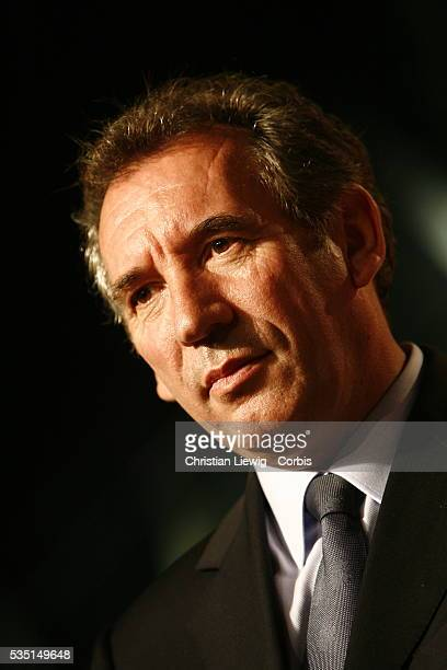 UDF leader and presidential candidate Francois Bayrou delivers a speech at a campaign rally in Angers