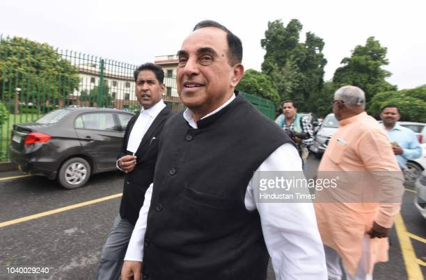 BJP leader and Rajya Sabha MP Subramanian Swamy after a hearing in relation to his petition regarding Ram Setu at the Supreme Court on September 25...
