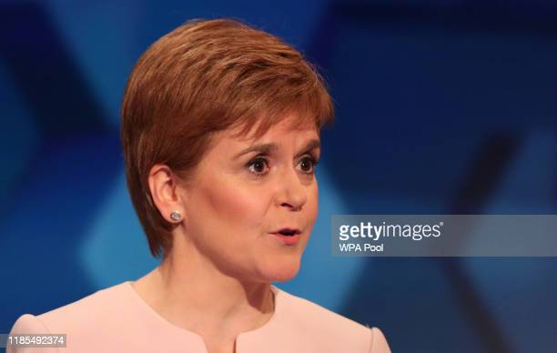 Leader and Scottish First Minister Nicola Sturgeon during a general election debate on November 29, 2019 in Cardiff, Wales.