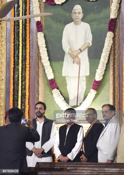 Leader and Union Ministers Chaudhary Birender Singh Vijay Goel RLD leaders Ajit Singh Jayant chaudhary and others during paying floral tributes on...