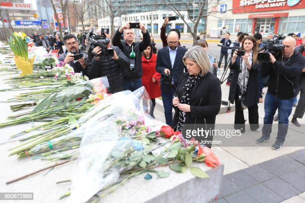 NDP leader Andrea Horwath pauses at the memorial to give condolences to the dead from the van attack A van mounted the curb and struck pedestrians...