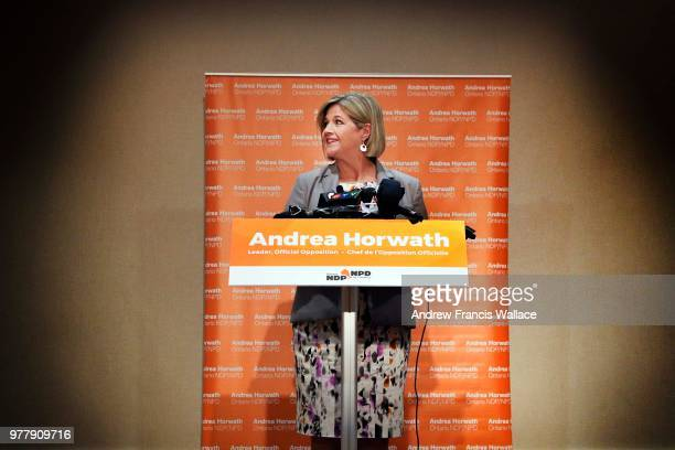 Leader Andrea Horwath speaks to media in Toronto