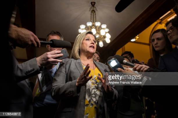 NDP leader Andrea Horwath speaks with media at Queen's Park