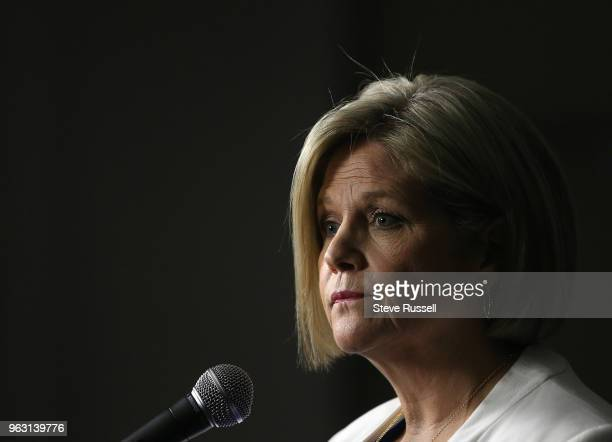 Leader Andrea Horwath takes questions in a postdebate scrum Leaders of the provincial political parties scrum with media after the final leadership...