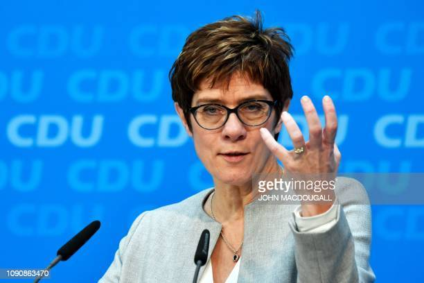 Leader Annegret Kramp-Karrenbauer addresses a press conference after a meeting with the Christian Democratics Union leader on January 29, 2019 in...