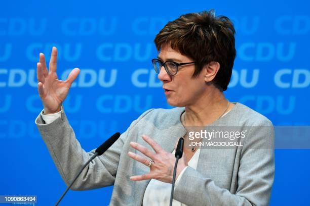 CDU leader Annegret KrampKarrenbauer addresses a press conference after a meeting with the Christian Democratics Union leader on January 29 2019 in...