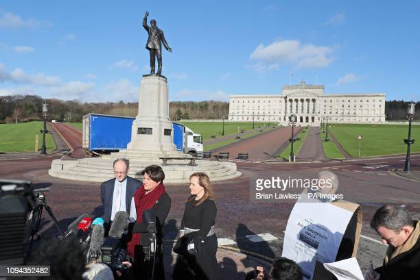 DUP Leader Arlene Foste speaks to the media outside Stormont after holding talks with Prime Minister Theresa May on the second day of her visit to...