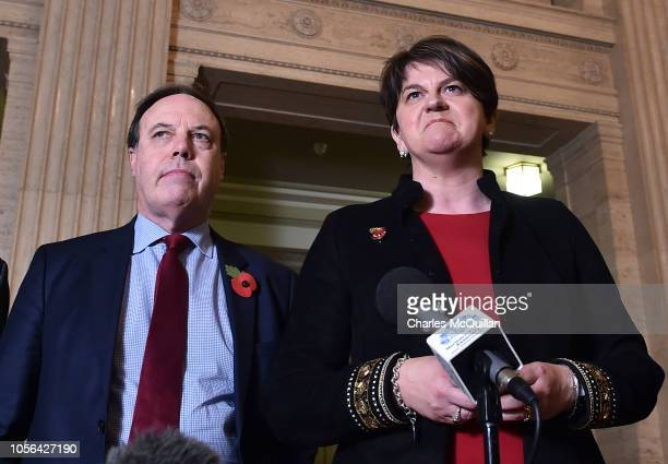 DUP leader Arlene Foster and deputy leader Nigel Dodds address the media at Stormont following talks with the UK Brexit secretary Dominic Raab on...
