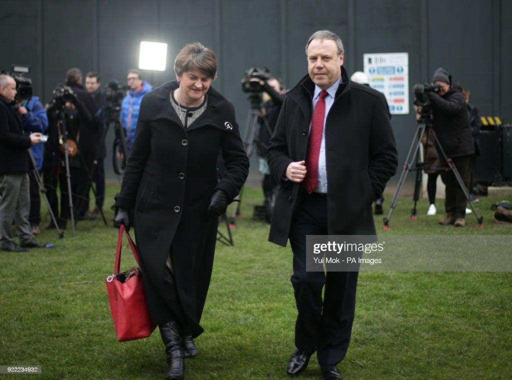 DUP leader Arlene Foster and deputy leader Nigel Dodds after speaking to the media on College Green in Westminster, London.