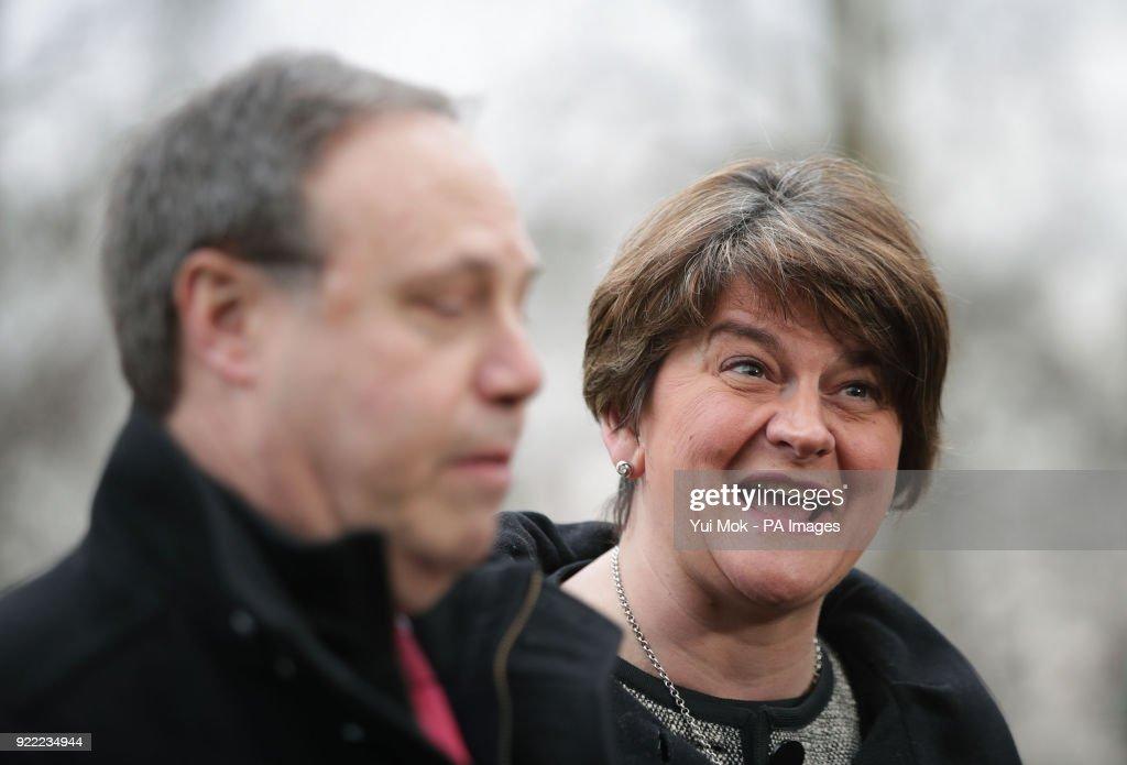 DUP leader Arlene Foster and deputy leader Nigel Dodds during a press conference in Westminster, London.