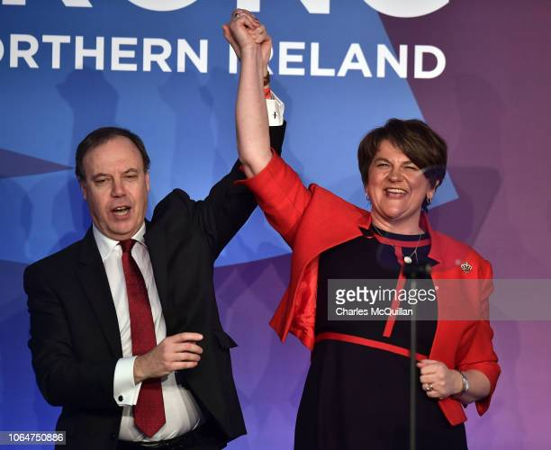 DUP leader Arlene Foster and deputy leader Nigel Dodds during the Democratic Unionist Party annual conference at the Crown Plaza Hotel on November 24...