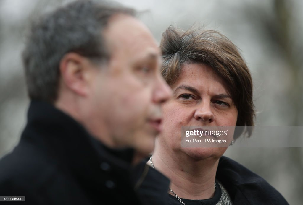 DUP leader Arlene Foster and deputy leader Nigel Dodds speaking to the media on College Green in Westminster, London.