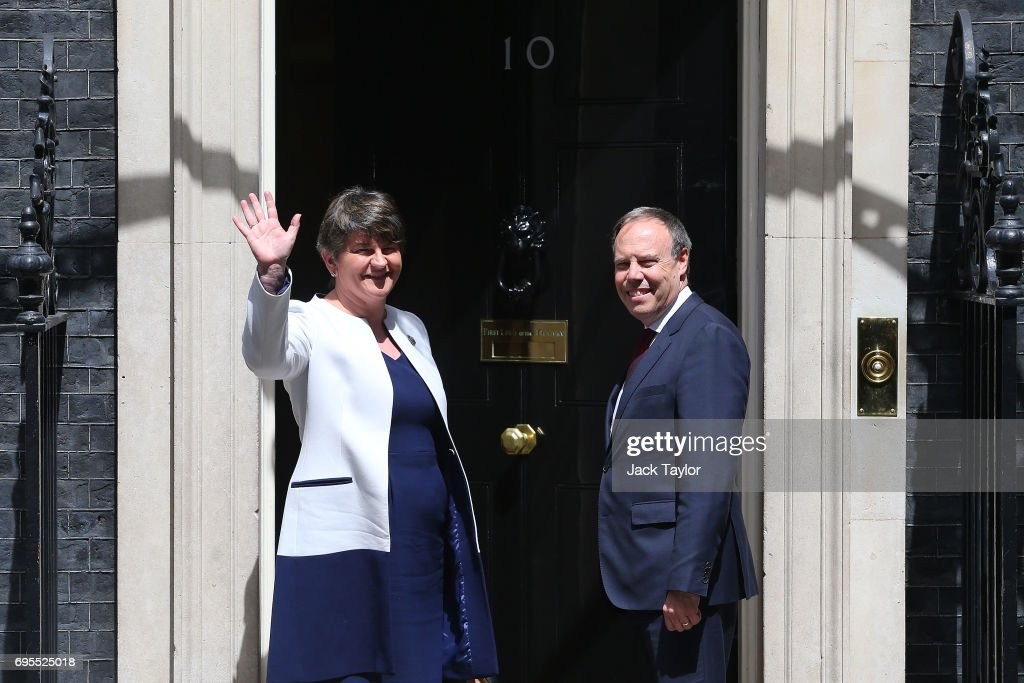 Prime Minister Theresa May Hosts Talks With DUP Leader Arlene Foster : News Photo