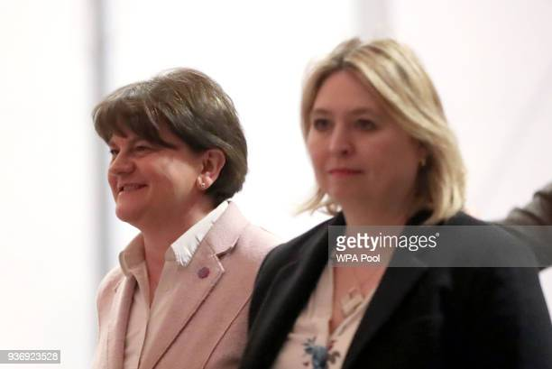 DUP leader Arlene Foster and Northern Ireland Secretary Karen Bradley attend as Prince Harry and Meghan Markle visit the Eikon Centre on March 23...