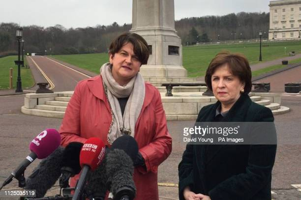 DUP leader Arlene Foster and party MEP Diane Dodds at Stormont in Belfast ahead of powersharing talks