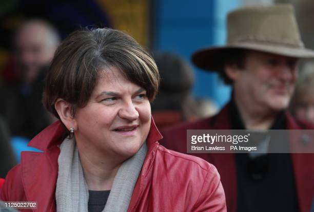 DUP leader Arlene Foster at an unveiling of a blue plaque on the Donegall Road in Belfast for celebrated singer Ruby Murray