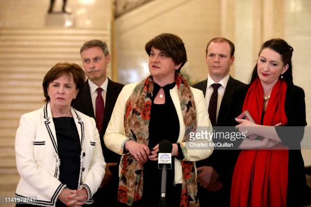 Leader Arlene Foster attends a press conference alongside party members in the Great Hall at Stormont on May 7, 2019 in Belfast, Northern Ireland....