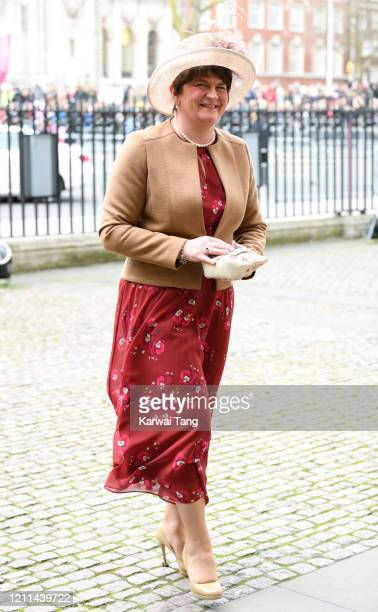 Leader Arlene Foster attends the Commonwealth Day Service 2020 at Westminster Abbey on March 09, 2020 in London, England.