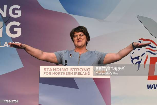 Leader Arlene Foster delivers her speech during the annual Democratic Unionist Party conference on October 26, 2019 in Belfast, Northern Ireland.
