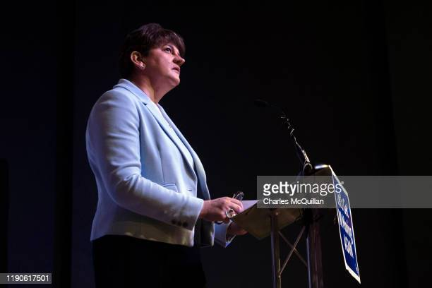 Leader Arlene Foster delivers the Democratic Unionist party manifesto during a press conference on November 28, 2019 in Belfast, Northern Ireland....