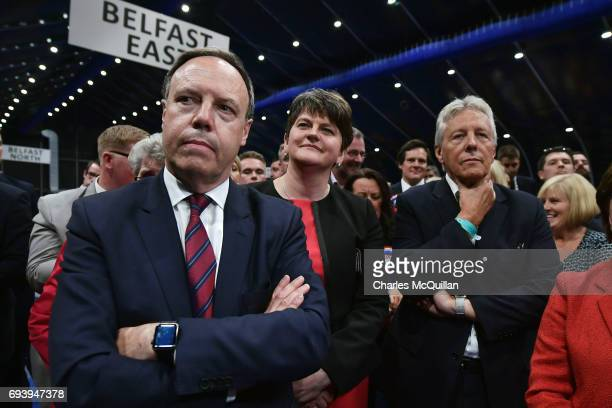 DUP leader Arlene Foster DUP deputy leader and north Belfast candidate Nigel Dodds former DUP leader and Northern Ireland First Minister Peter...