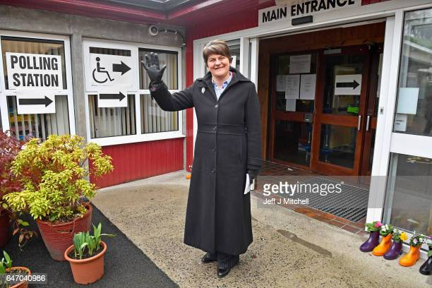 DUP leader Arlene Foster goes to her polling station Brookborough Primary School on March 2 2017 in Brookborough Northern Ireland Voters in Northern...