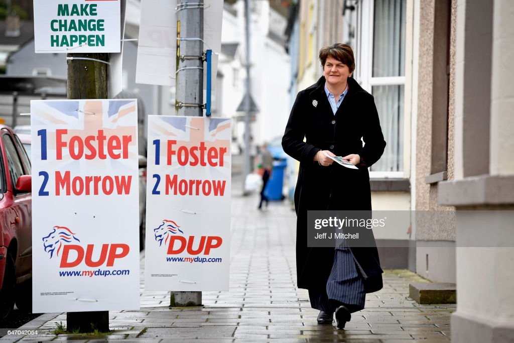 DUP leader Arlene Foster goes to her polling station Brookborough Primary School on March 2, 2017 in Brookborough, Northern Ireland. Voters in Northern Ireland are going to the polls today for the second time in ten months following the resignation of former Deputy First Minister Martin McGuinness.