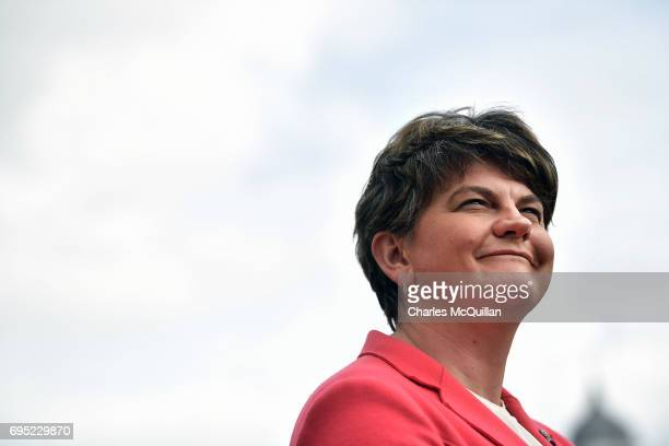 DUP leader Arlene Foster holds a press conference at Stormont Castle as the Stormont assembly power sharing negotiations reconvene following the...