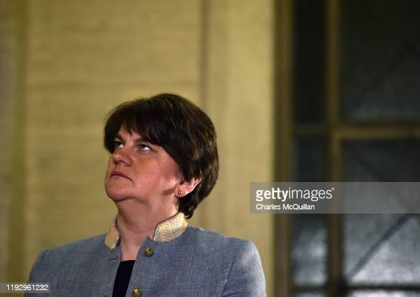 Leader Arlene Foster is interviewed by television and media outlets at Stormont following news that Sinn Fein have also accepted to go back in to a...