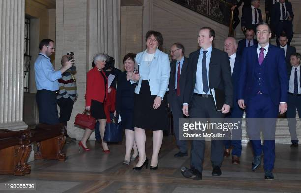 Leader Arlene Foster leads her party MLAs back into the debating chamber at Stormont on January 11, 2020 in Belfast, Northern Ireland. The power...