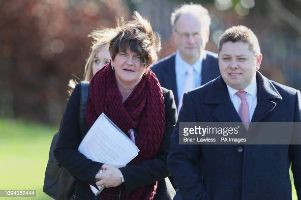 DUP Leader Arlene Foster leaves Stormont after holding talks with Prime Minister Theresa May on the second day of her visit to Belfast