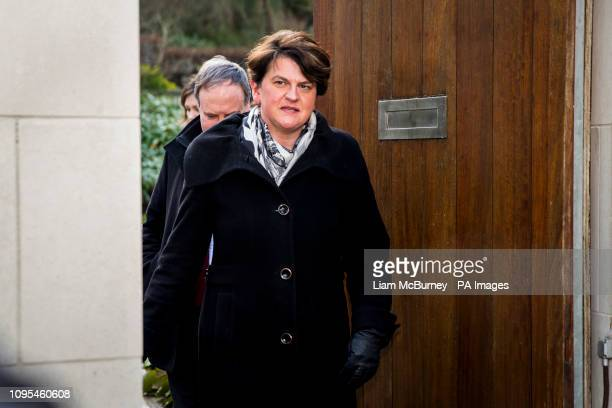 DUP leader Arlene Foster leaving the the Irish Goverment residence in Belfast Northern Ireland to speak with media after meeting Taoiseach Leo...