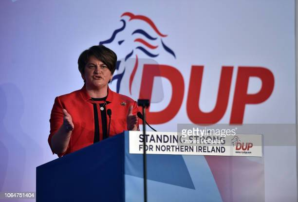 Leader Arlene Foster makes her keynote speech during the Democratic Unionist Party annual conference at the Crown Plaza Hotel on November 24, 2018 in...