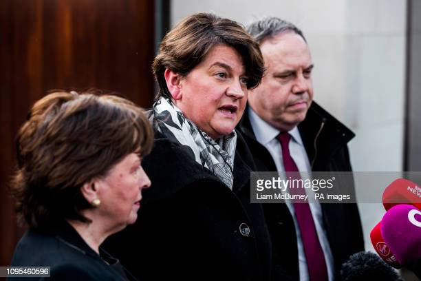 DUP leader Arlene Foster with Diana Dodds MEP and Nigel Dodds MP after meeting Taoiseach Leo Varadkar at the Irish Goverment residence in Belfast...