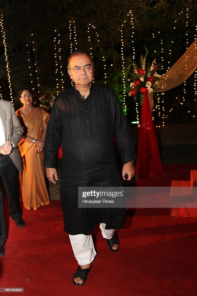 BJP leader Arun Jaitley at the wedding reception of educationist Dr SB Mujumdar's grandson Ameya Yeravdekar and Swati Thorat at Delhi Gymkhana on March 22, 2013 in New Delhi, India.