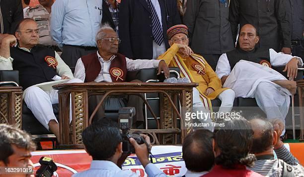 BJP leader Arun Jaitley former CPI general secretary A B Bardhan BJP leader Murli Manohar Joshi and BJP president Rajnath Singh during the Save...